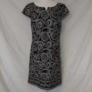 London Times White Dot Swirls Black Dress